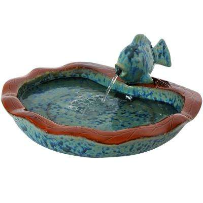 7 in. Glazed Ceramic Fish Outdoor Cascading Water Fountain