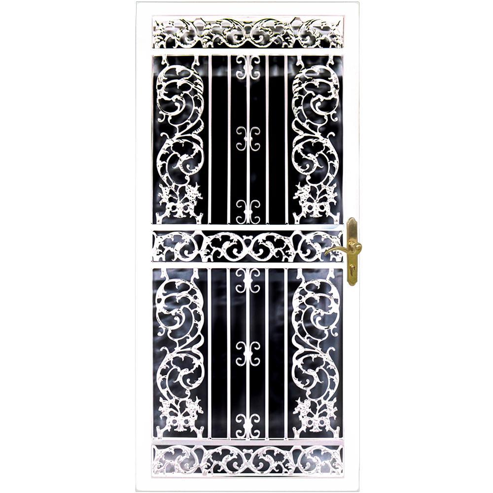 Bird of Paradise 32 in. x 80 in. White Steel Left-Hinged Security Door