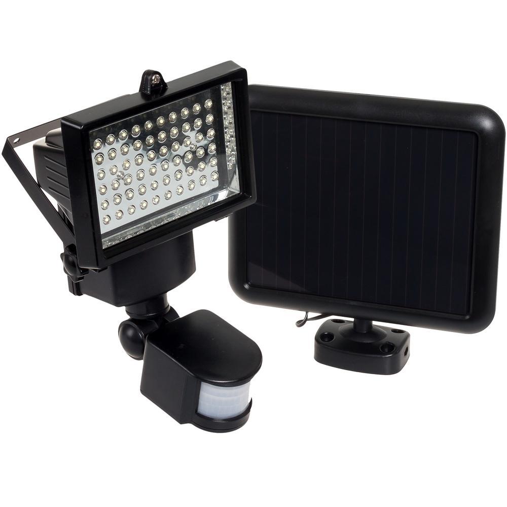 Black Outdoor Solar Integrated LED Flood Light