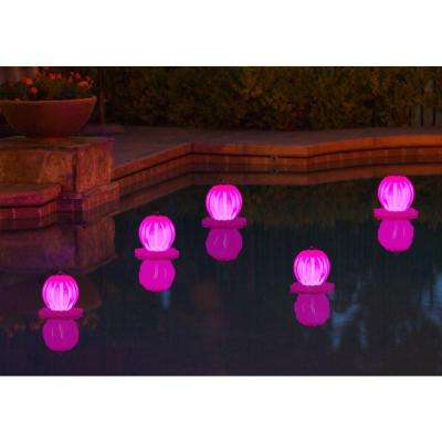Floating Solar Swimming Pool Lantern - 2 Pack in Pink
