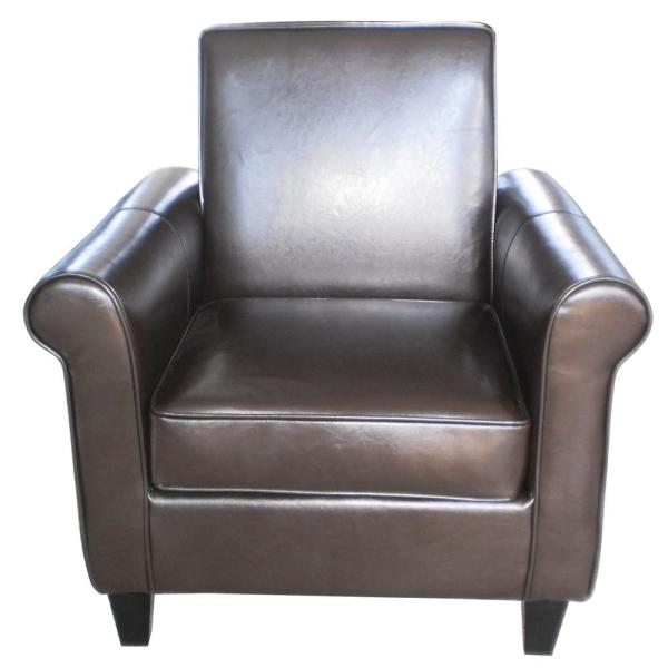 Noble House Freemont Brown Leather Club Chair 218704