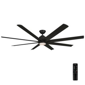 Kensgrove 72 in. LED Indoor/Outdoor Matte Black Ceiling Fan with Light and Remote Control