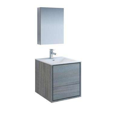 Catania 24 in. Modern Wall Hung Vanity in Ocean Gray with Vanity Top in White with White Basin and Medicine Cabinet