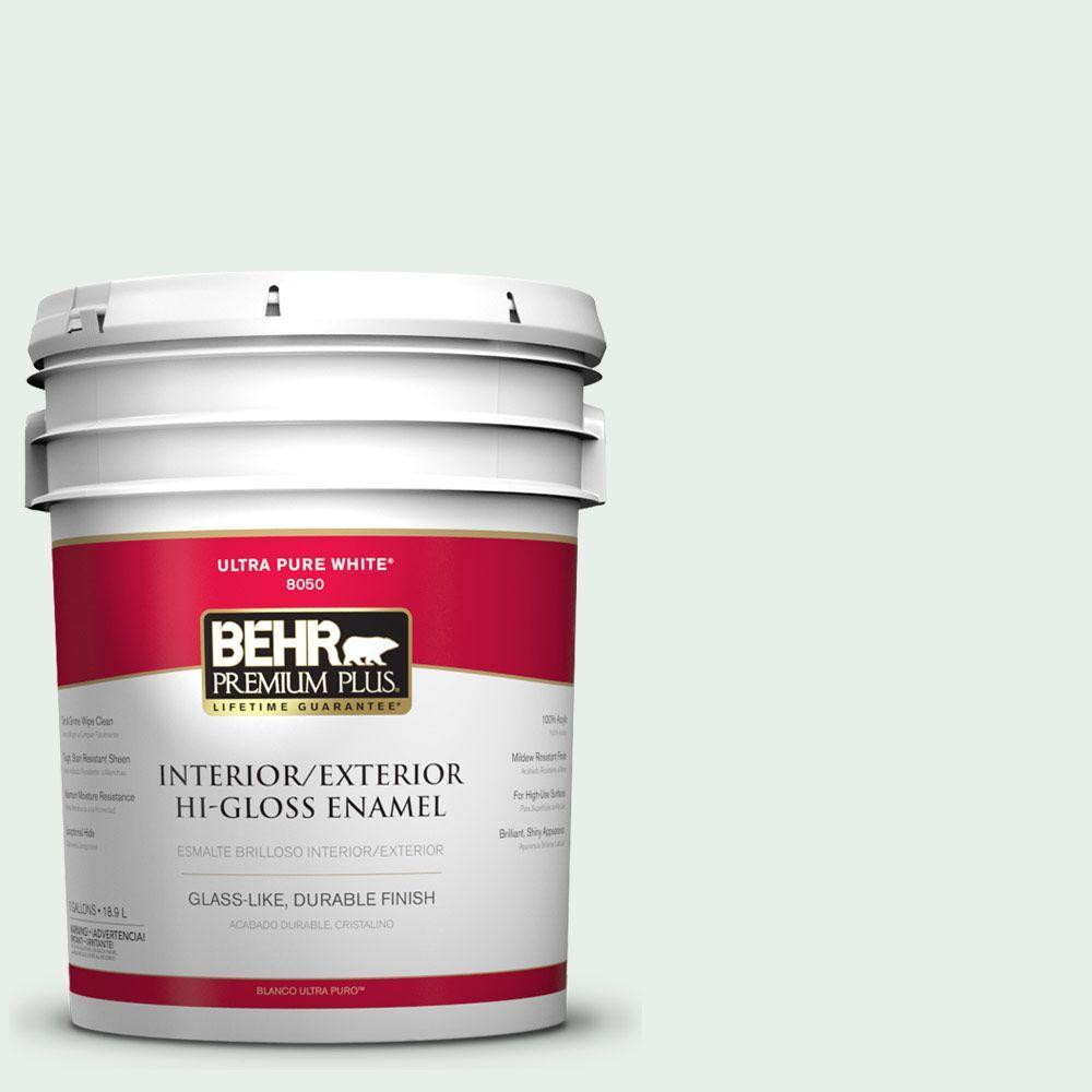 BEHR Premium Plus 5-gal. #460C-1 Aegean Mist Hi-Gloss Enamel Interior/Exterior Paint