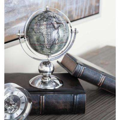 10 in. x 8 in. Modern Decorative Globe in Brown and Silver