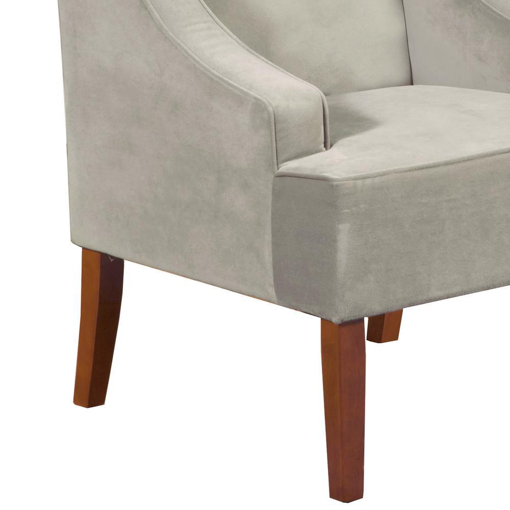 internet homepop light grey swoop arm velvet accent chair