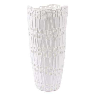 White Cal Tall Decorative Vase