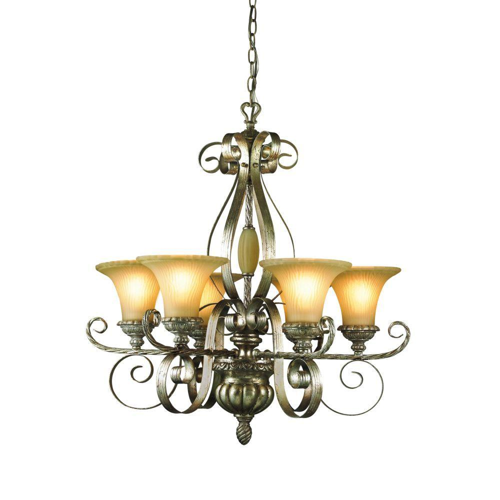 Eurofase Seraphine Collection 6-Light 101 in. Hanging Silver and Gold Chandelier