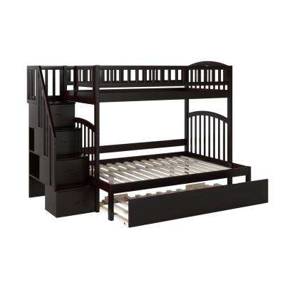 Westbrook Espresso Twin Over Full Staircase Bunk with Twin Size Urban Trundle Bed