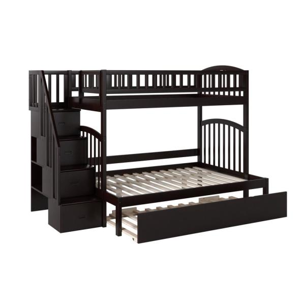 Atlantic Furniture Westbrook Espresso Twin Over Full Staircase Bunk with Twin Size Urban Trundle Bed