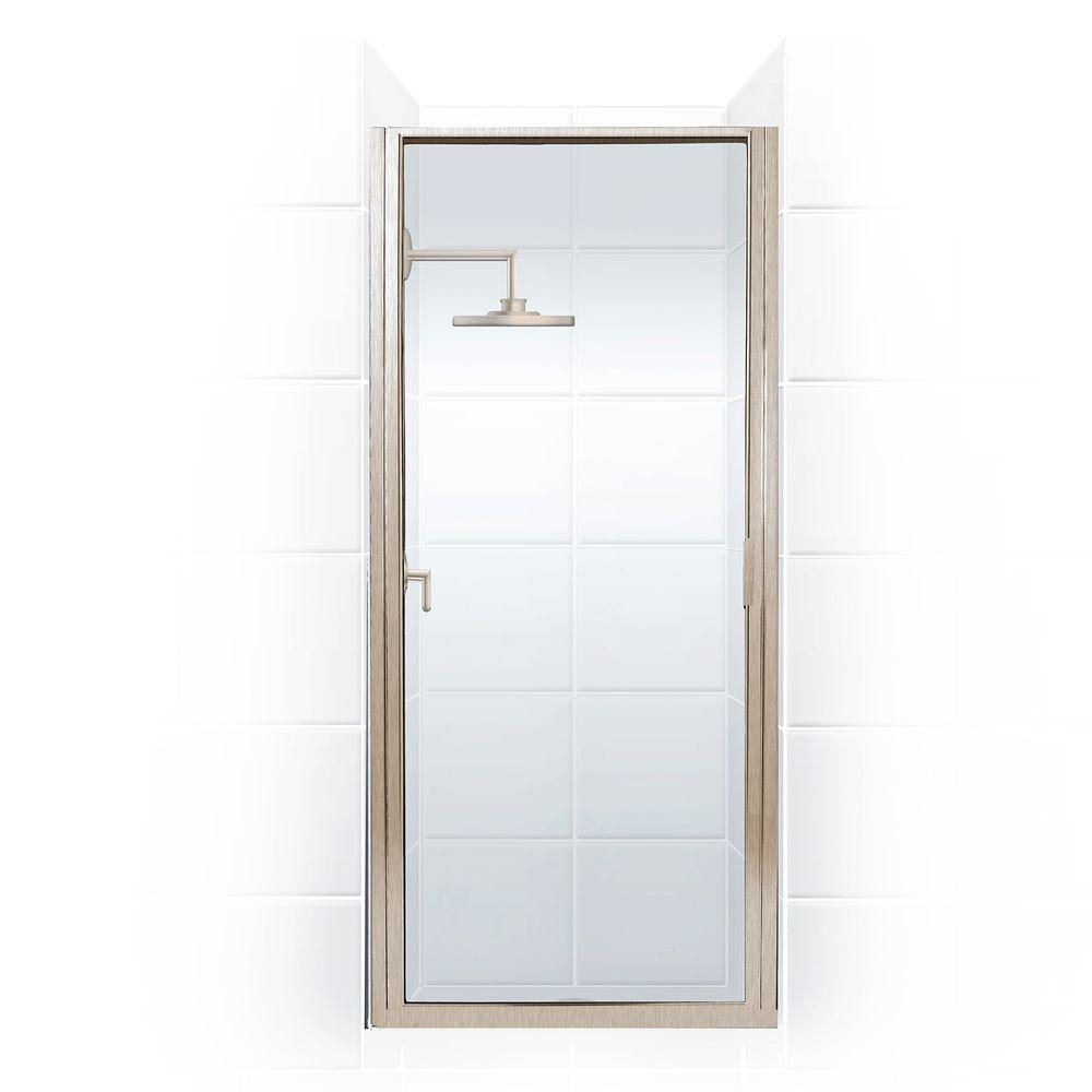 Coastal Shower Doors Paragon Series 27 in. x 74 in. Framed Continuous Hinged Shower Door in Brushed Nickel with Clear Glass