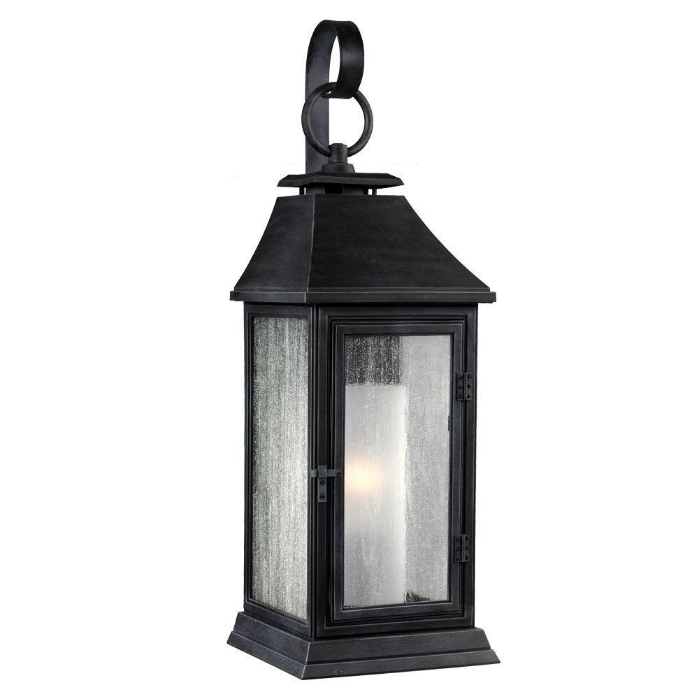 Feiss Shepherd 1 Light Dark Weathered Zinc Outdoor 16 5 In Wall Lantern Sconce