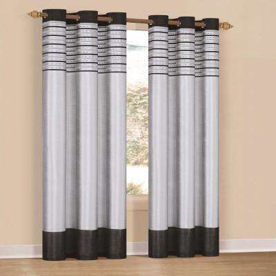 Cityscape 38 in. x 84 in. L Polyester Curtain Panel in Platinum-Black (2-Pack)