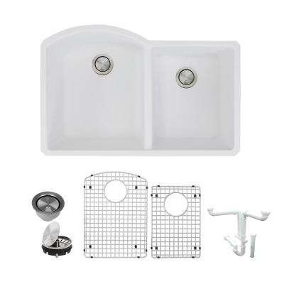 Aversa All-in-One Undermount Granite 31 in. 1-3/4 in. D-Shape Double Bowl Kitchen Sink in White