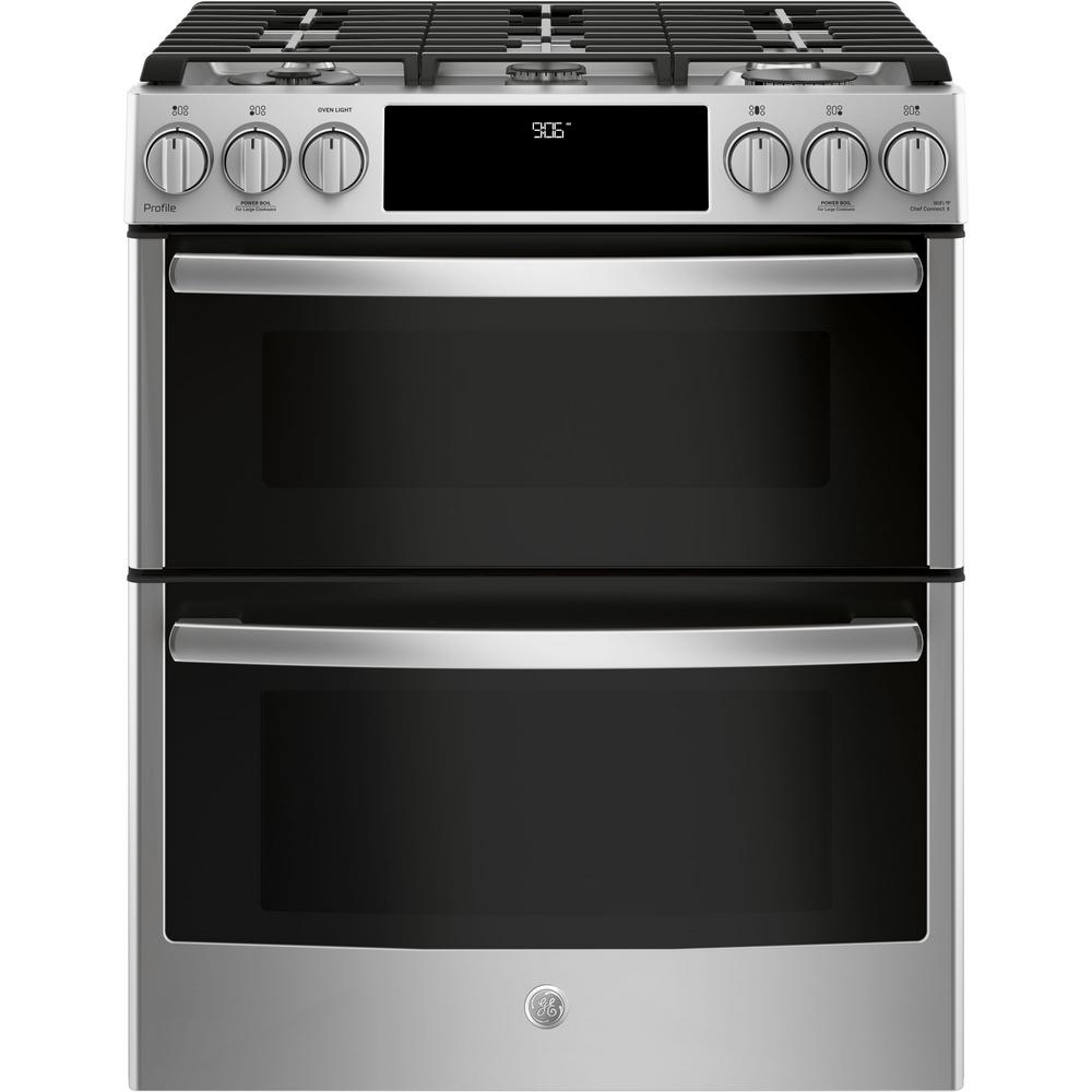 1a3588c09 GE Profile 6.7 cu. ft. Slide-In Smart Double Oven Gas Range with ...