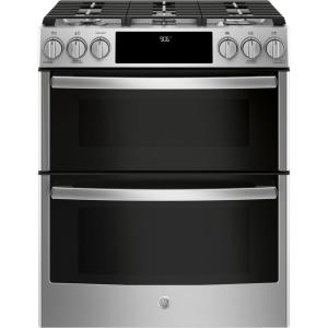 Profile 6.7 cu. ft. Slide-In Smart Double Oven Gas Range with Self-Cleaning Oven in Stainless Steel