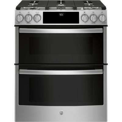 Profile 6.7 cu. ft. Smart Slide-In Double Oven Gas Range with Self-Cleaning Oven in Stainless Steel