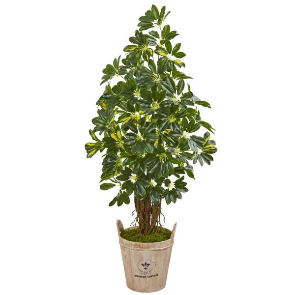 Nearly Natural Indoor 4.5-Ft. Schefflera Artificial Tree in Farmhouse Planter