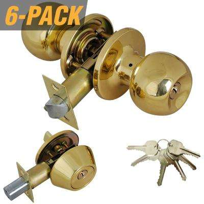 Solid Brass Entry Door Knob Combo Lock Set with Deadbolt and 36 Keys Total, (6-Pack, Keyed Alike)
