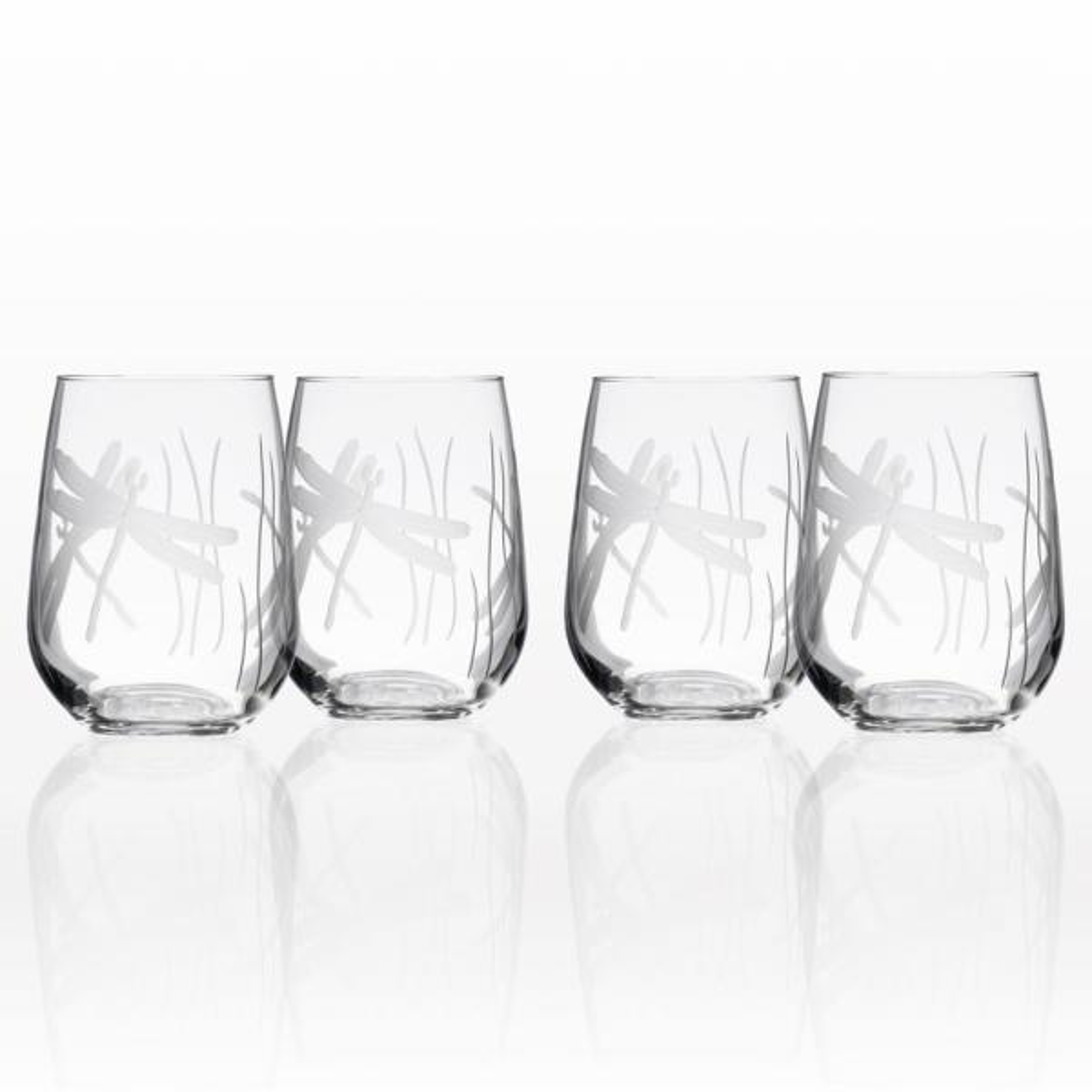17 oz Stemless Wine Glass Goblet Dragonfly