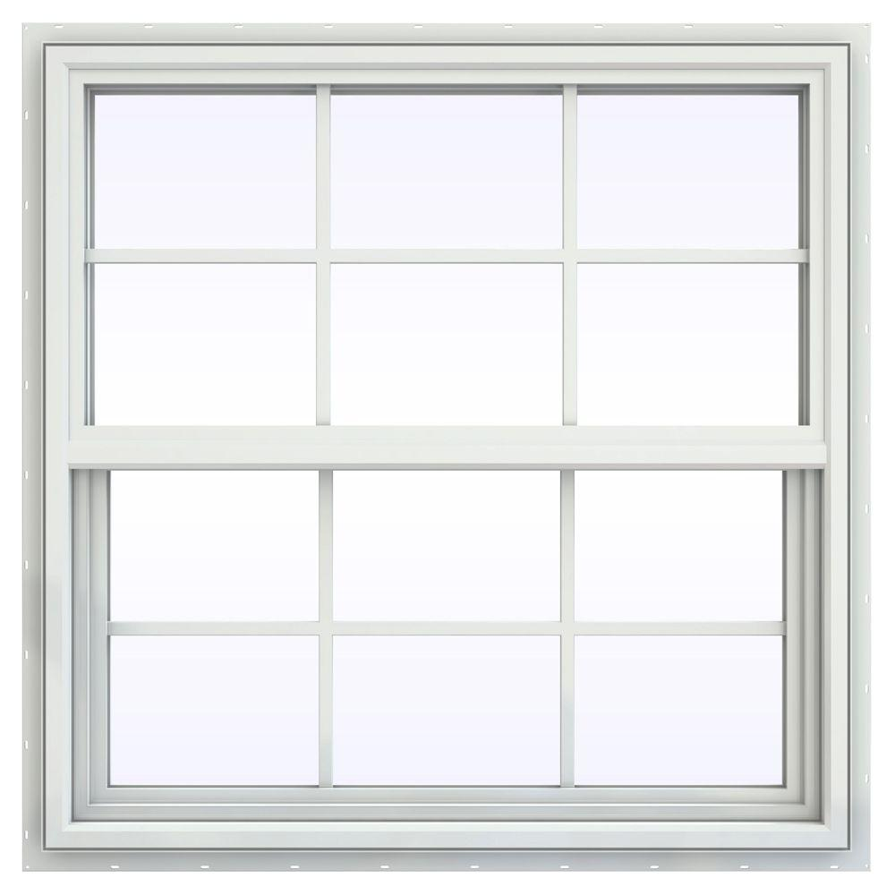 JELD-WEN 35.5 in. x 35.5 in. V-4500 Series Single Hung Vinyl Window with Grids - White
