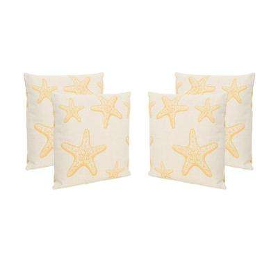 Starfish Beige and Orange Square Outdoor Throw Pillows (Set of 4)