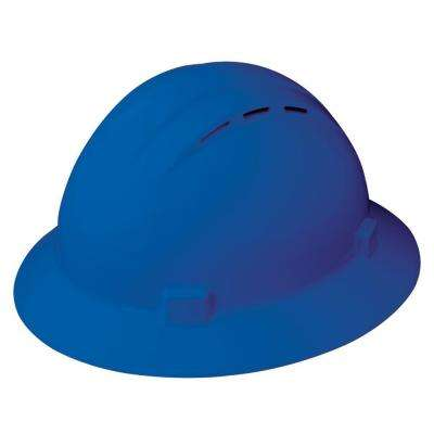 Americana Vent 4 Point Nylon Suspension Slide-Lock Full Brim Hard Hat in Blue