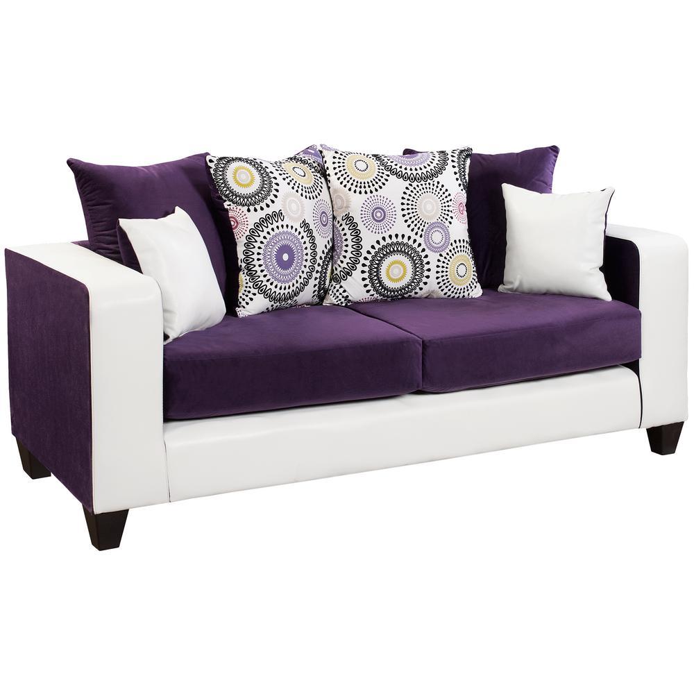Implosion Purple Velvet/Avanti White Vinyl Standard Sofa