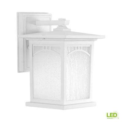 Residence Collection 1-Light 9.2 in. Outdoor Textured White LED Wall Lantern