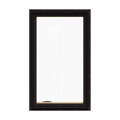 28.75 in. x 48.75 in. W-2500 Series Black Painted Clad Wood Left-Handed Casement Window with BetterVue Mesh Screen