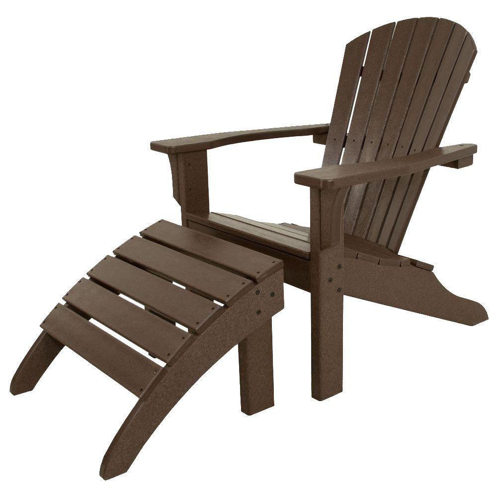 Classics Mahogany 2-Piece Shell Back Plastic Patio Adirondack Chair