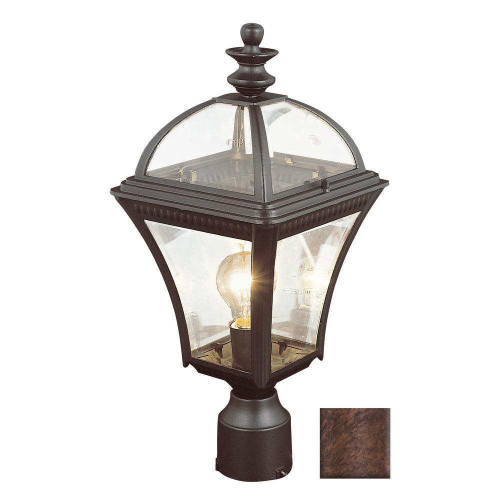 Bel Air Lighting Washington 19.5 in. 1-Light Rust Outdoor Postmount Lantern
