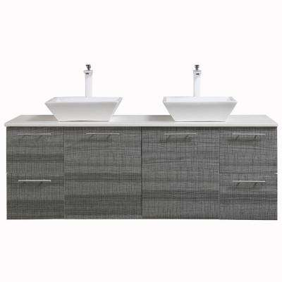 Luxury 60 in. W x 21 in. D Vanity in Ash with Wood Vanity Top in White with Ash Basin