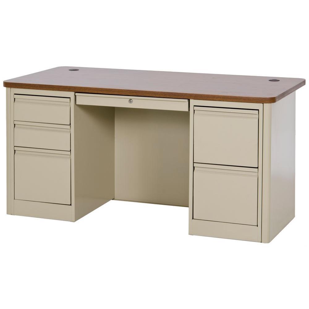 Sandusky 29.5 in. H x 60 in. W x 30 in. D 900 Series Double Pedestal Heavy Duty Teachers Desk in Putty/Medium Oak