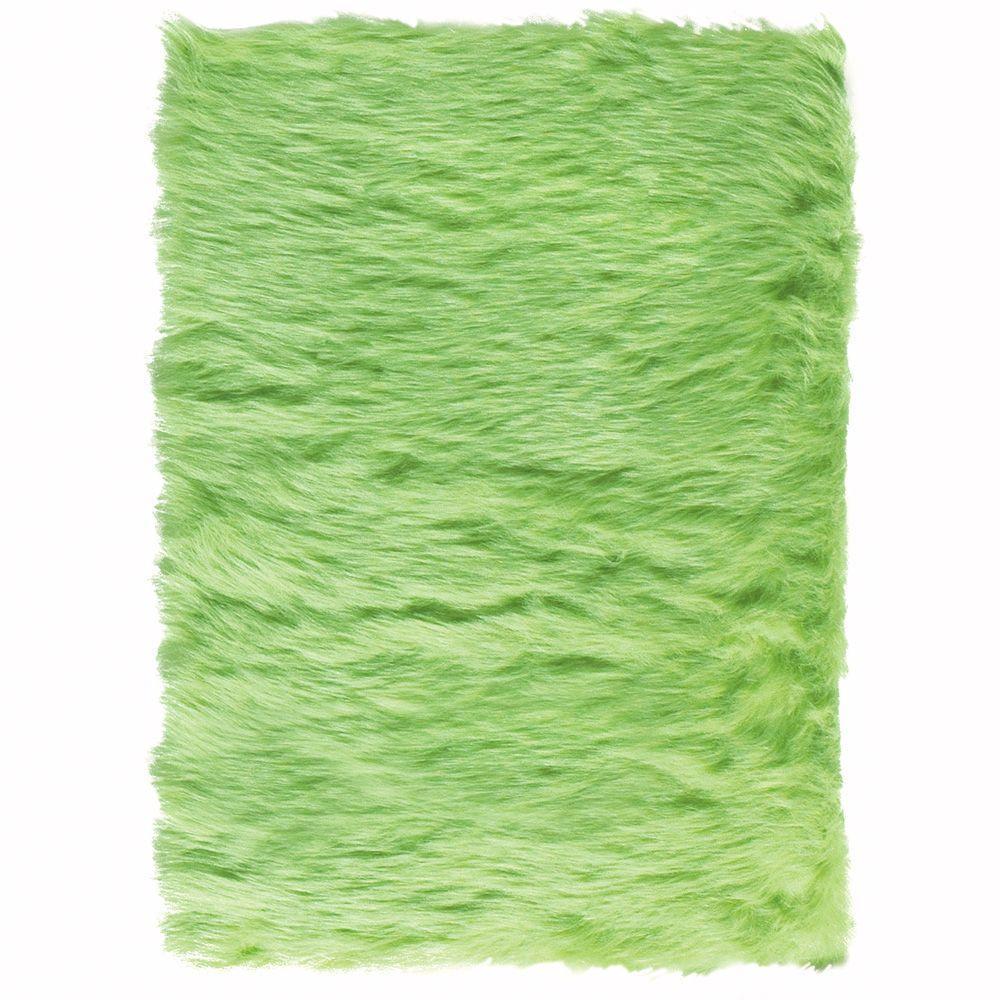 Faux Sheepskin Lime 4 ft. x 6 ft. Area Rug