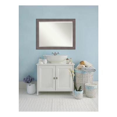 Country 46 in. W x 36 in. H Framed Rectangular Beveled Edge Bathroom Vanity Mirror in Rustic Barnwood