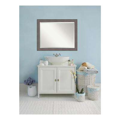 Country Rustic Barnwood Wood 46 in. W x 36 in. H Single Distressed Bathroom Vanity Mirror