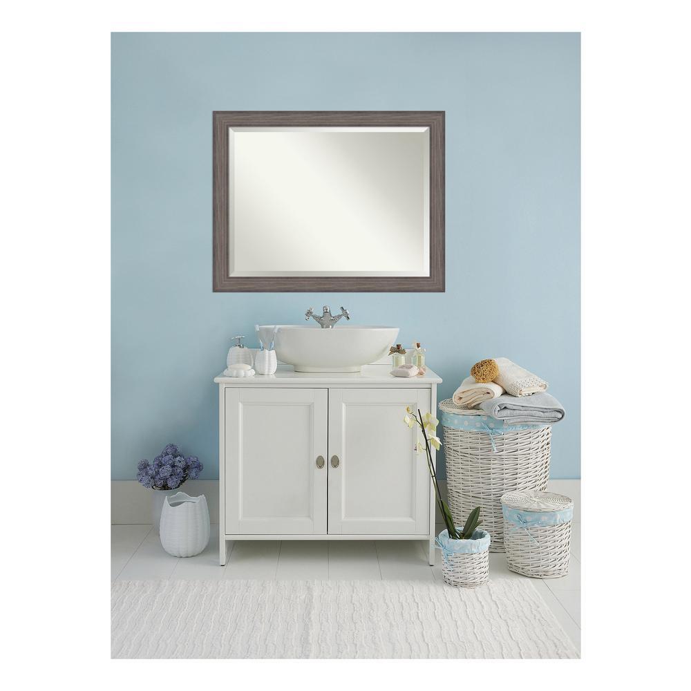 Country 46 in. W x 36 in. H Framed Rectangular Beveled Edge Bathroom Vanity Mirror in Rustic Barnwood