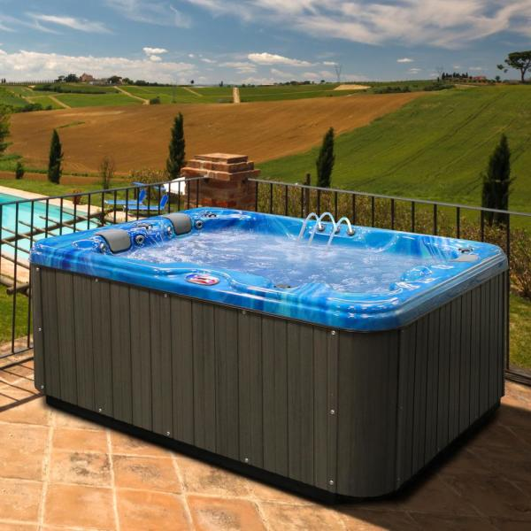 American Spas 3-Person 34-Jet Premium Acrylic Lounger Spa Hot Tub with Bluetooth Stereo System, Subwoofer and Backlit LED Waterfall