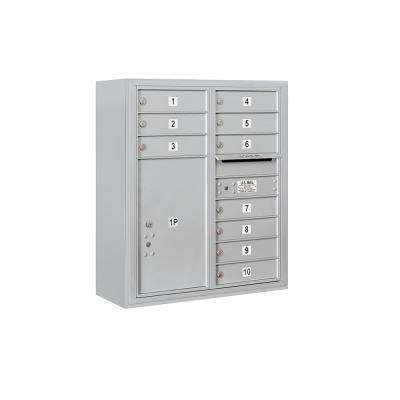 3800 Horizontal Series 10-Compartment with 1-Parcel Locker Surface Mount Mailbox