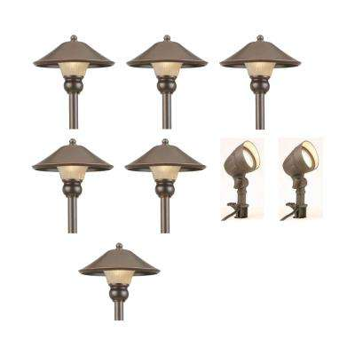 Low Voltage Bronze Outdoor Integrated Led Landscape Path Light And Flood Kit 8 Pack
