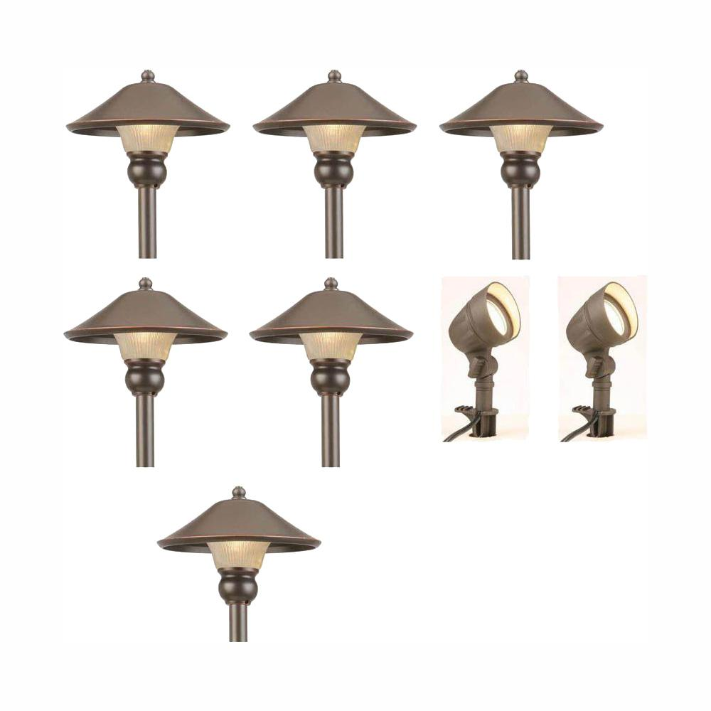 Hampton Bay Low Voltage Bronze Outdoor Integrated Led Landscape Path Light And Flood Light Kit 8 Pack Iwv6628l The Home Depot