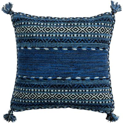 Ganale Navy Striped Polyester 18 in. x 18 in. Throw Pillow