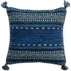 Ganale Navy Striped Polyester 22 in. x 22 in. Throw Pillow