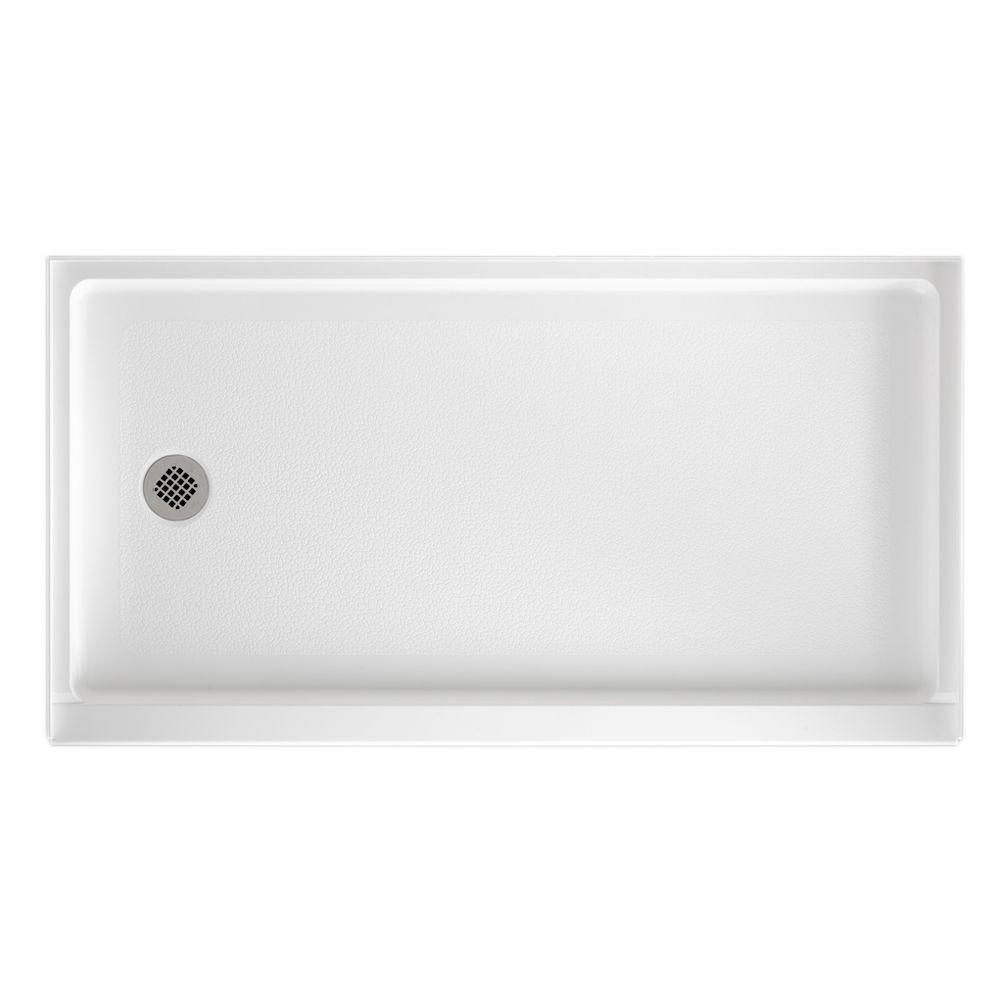 Swan 32 in. x 60 in. Solid Surface Single Threshold Retrofit Left