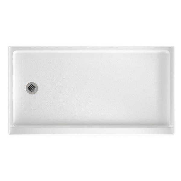 32 in. x 60 in. Solid Surface Single Threshold Retrofit Left Drain Shower Pan in White