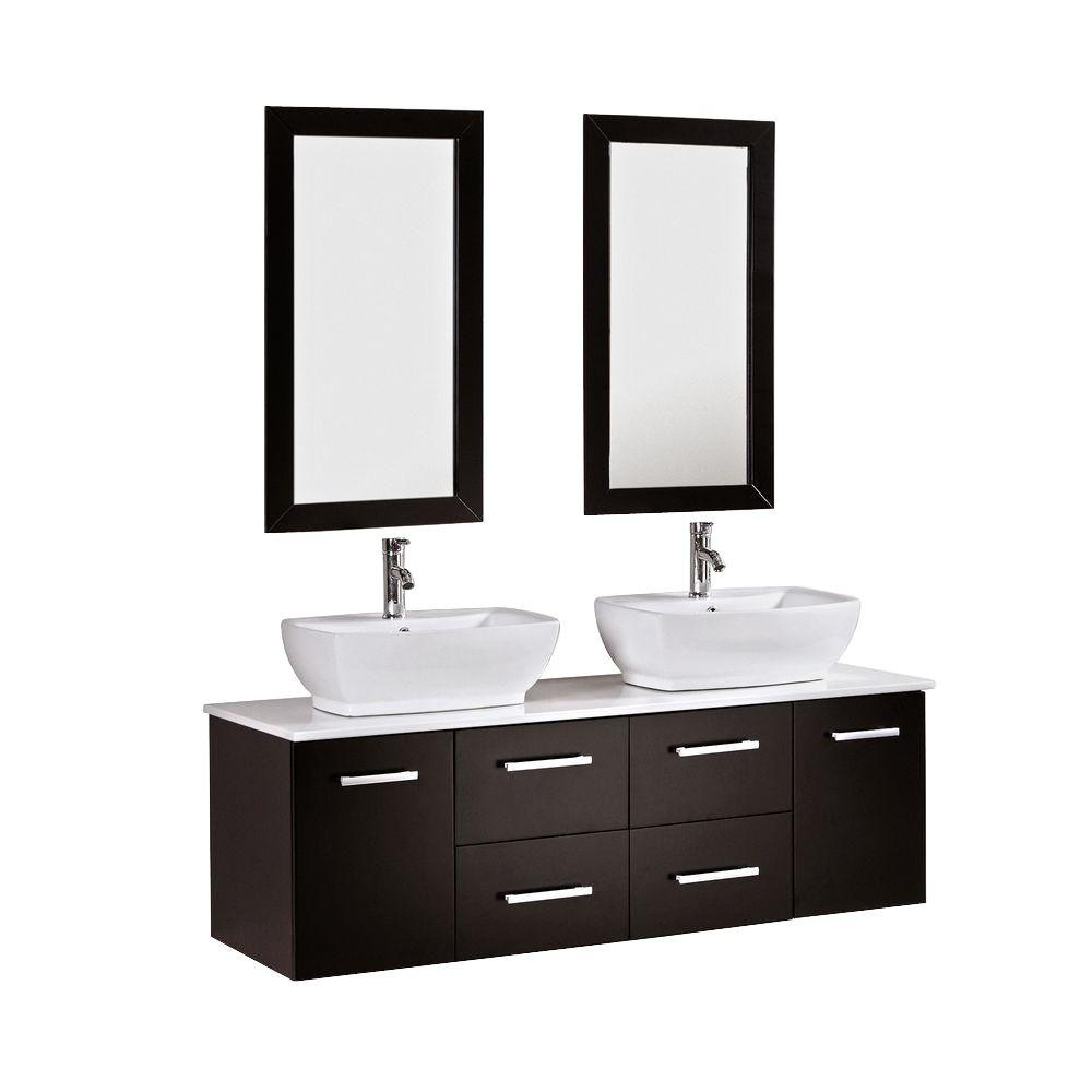 Kokols Peliel 60 In. Double Vanity In Espresso With Stone Vanity Top In  White-9146 - The Home Depot