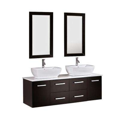 Peliel 60 in. Double Vanity in Espresso with Stone Vanity Top in White