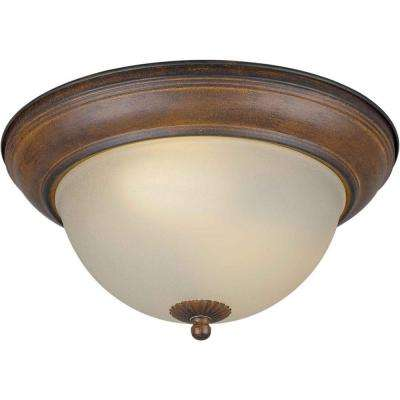 2-Light Rustic Sienna Flushmount with Shaded Umber Glass