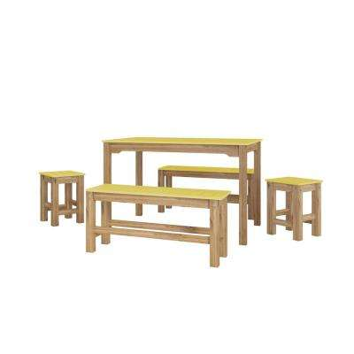 5 Piece Yellow And Natural Wood Rectangle Dining Set